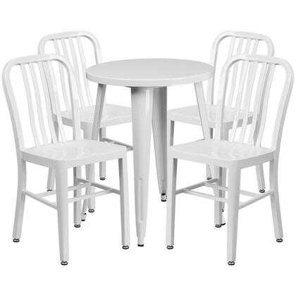 CH51080TH Collection CH-51080TH-4-18VRT-WH-GG 5 Piece Indoor-Outdoor Table Set with 4 Vertical Slat Back Chairs  Powder Coat Finish  Adjustable Floor