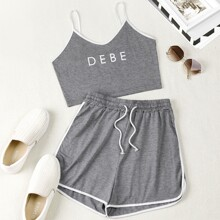 Plus Letter Graphic Cami Top & Dolphin Hem Shorts