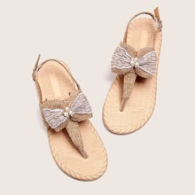 Sandalen mit Schleife & Kunstperlen Dekor