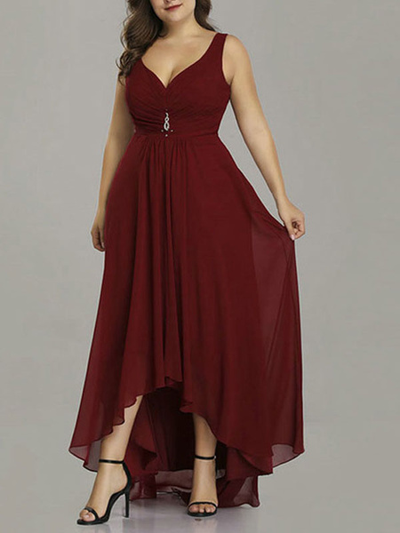 Milanoo Plus Size Bridesmaid Dress Chiffon A Line Vneck Asymmetrical Prom Dress Wedding Party Dresses