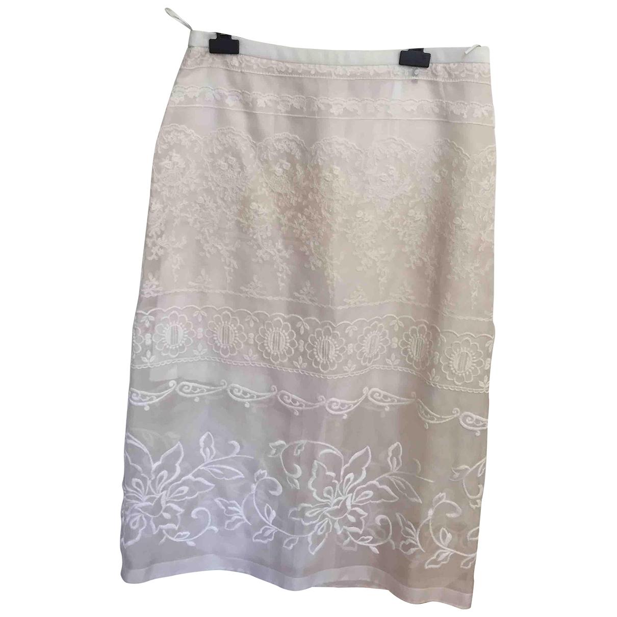 N°21 - Jupe   pour femme en soie - blanc