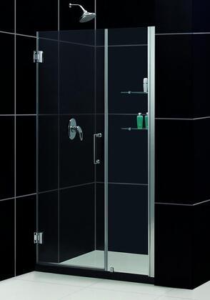 SHDR-20387210S-04 Unidoor 38-39 In. W X 72 In. H Frameless Hinged Shower Door With Shelves In Brushed