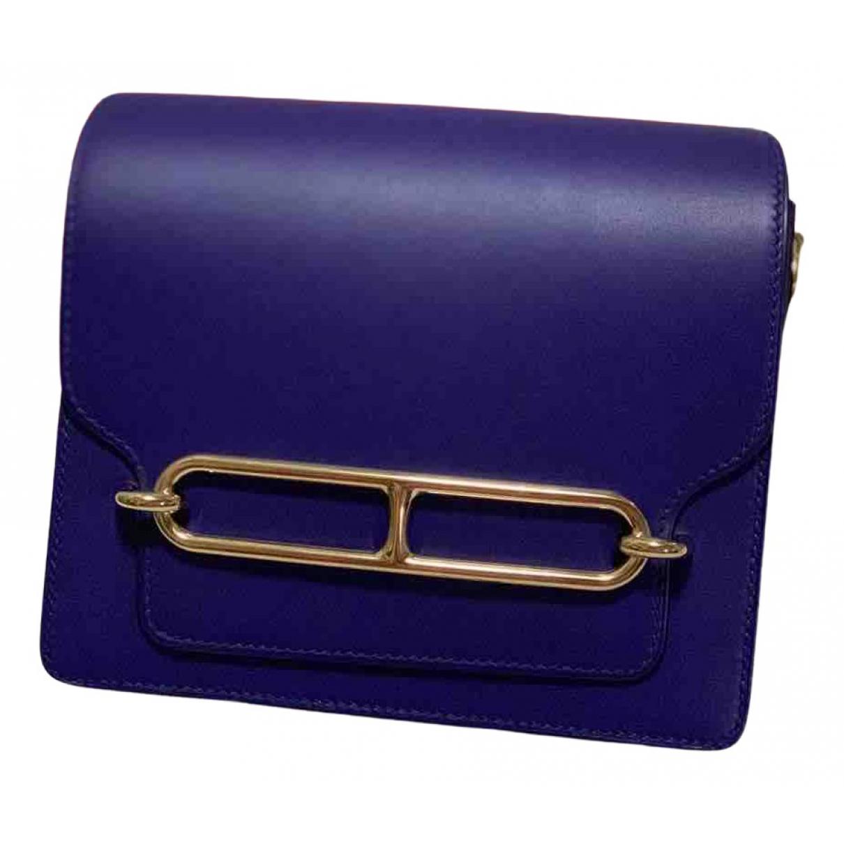 Hermes Roulis Handtasche in  Blau Leder