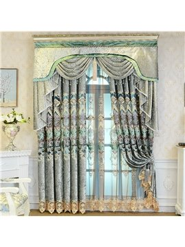 Luxury Palace Style Blue Elegant Pattern Shading Curtain