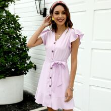 Solid Button Up Belted Dress