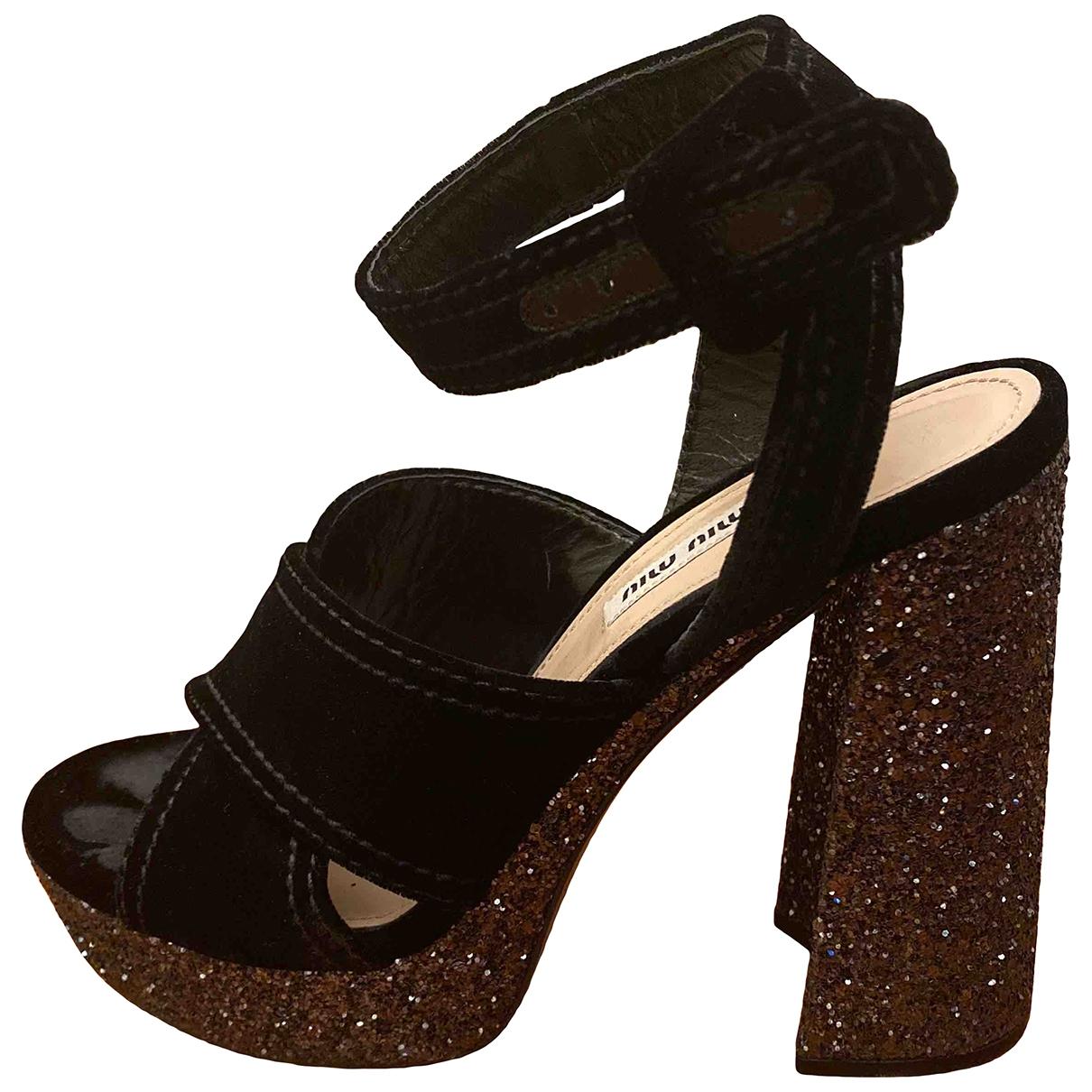 Miu Miu - Sandales   pour femme en velours - noir