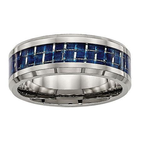 Mens Titanium & Blue Carbon Fiber Wedding Band, 11 , No Color Family