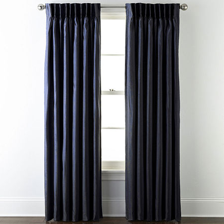 JCPenney Home Supreme Energy Saving Light-Filtering Pinch-Pleat Single Curtain Panel, One Size , Blue