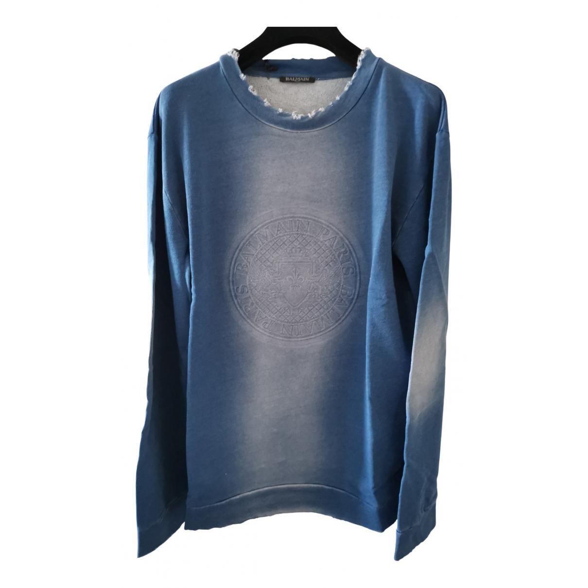 Balmain \N Pullover.Westen.Sweatshirts  in  Blau Baumwolle
