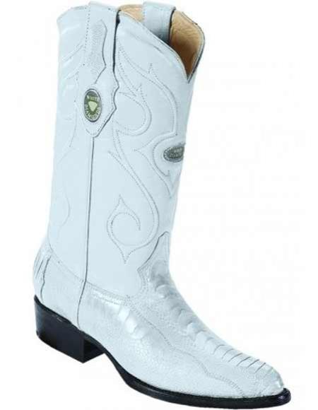 Mens Ostrich Leg Skin J Toe Full Leather Pull Straps White Boots