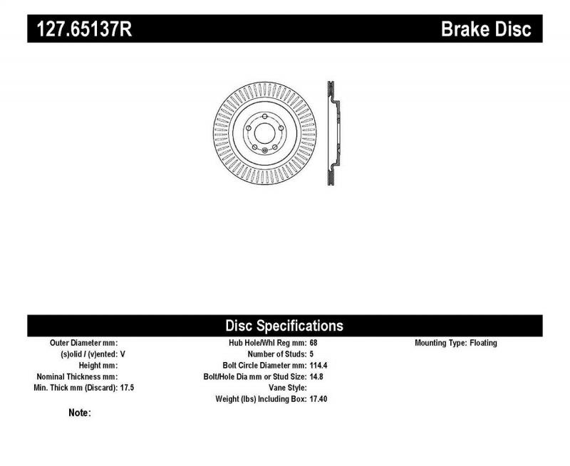 StopTech 127.65137R Sport Drilled/Slotted Brake Rotor; Rear Right Rear Right