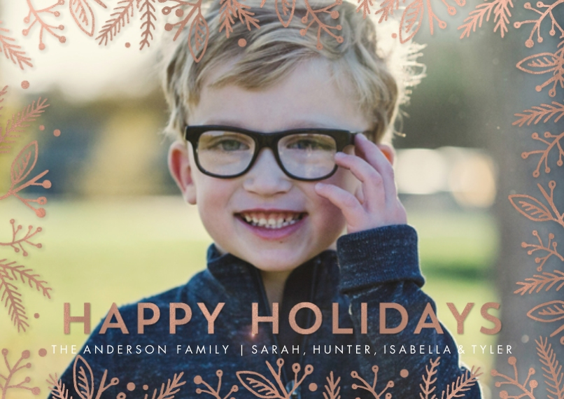 Holiday Photo Cards Flat Glossy Photo Paper Cards with Envelopes, 5x7, Card & Stationery -Holiday Gold Foliage Overlay