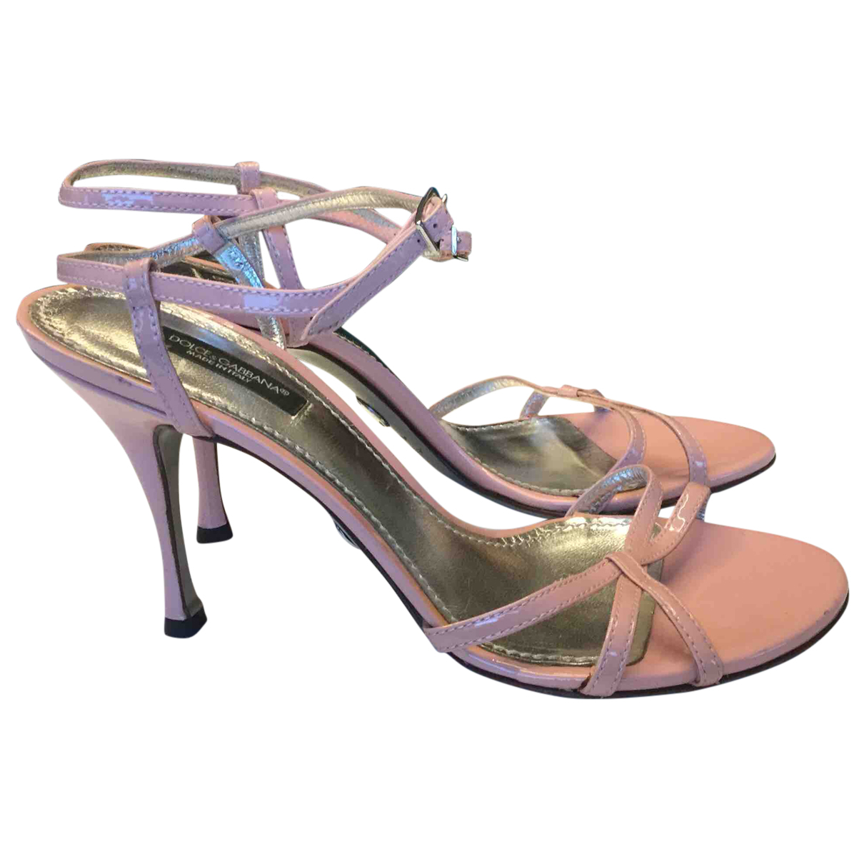 Dolce & Gabbana N Pink Patent leather Sandals for Women 37 IT
