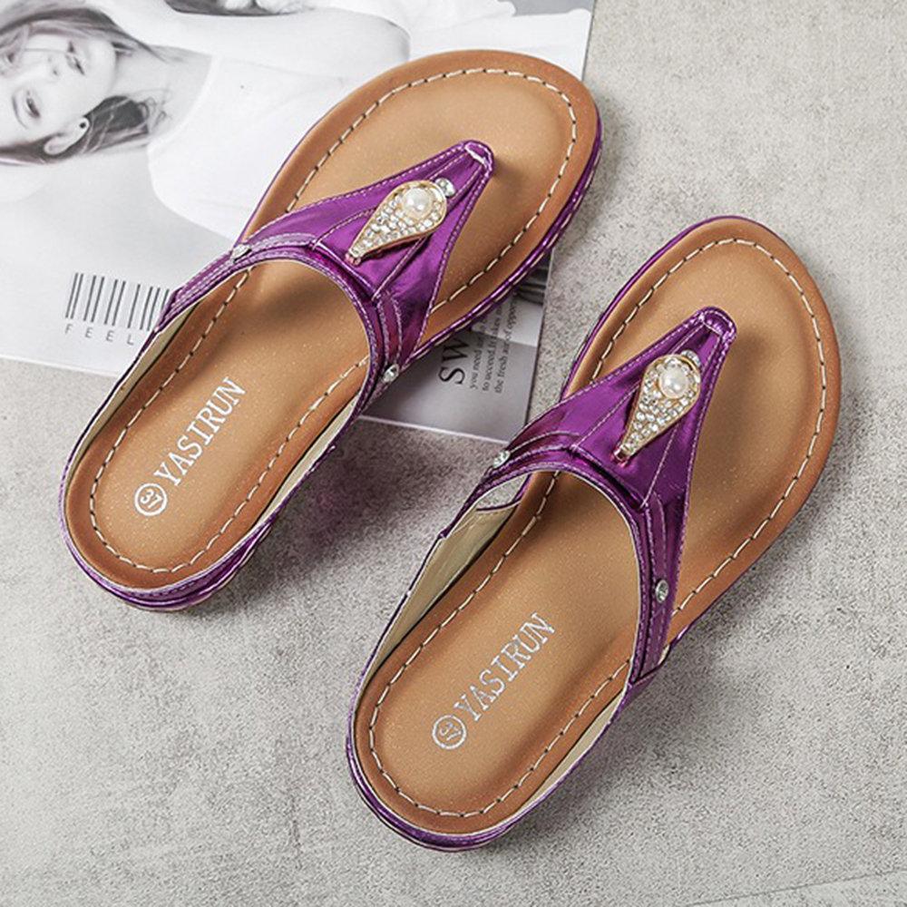 LOSTISY Large Size Rhinestone Summer Backless Flat Sandals