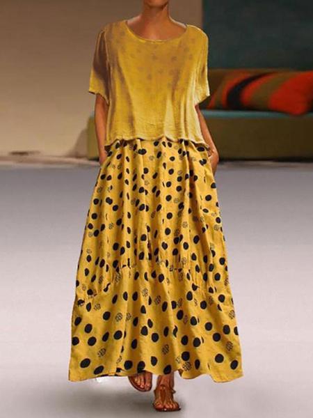 Milanoo Vestidos largos Mangas cortas Vestido largo de poliester con cuello joya azul