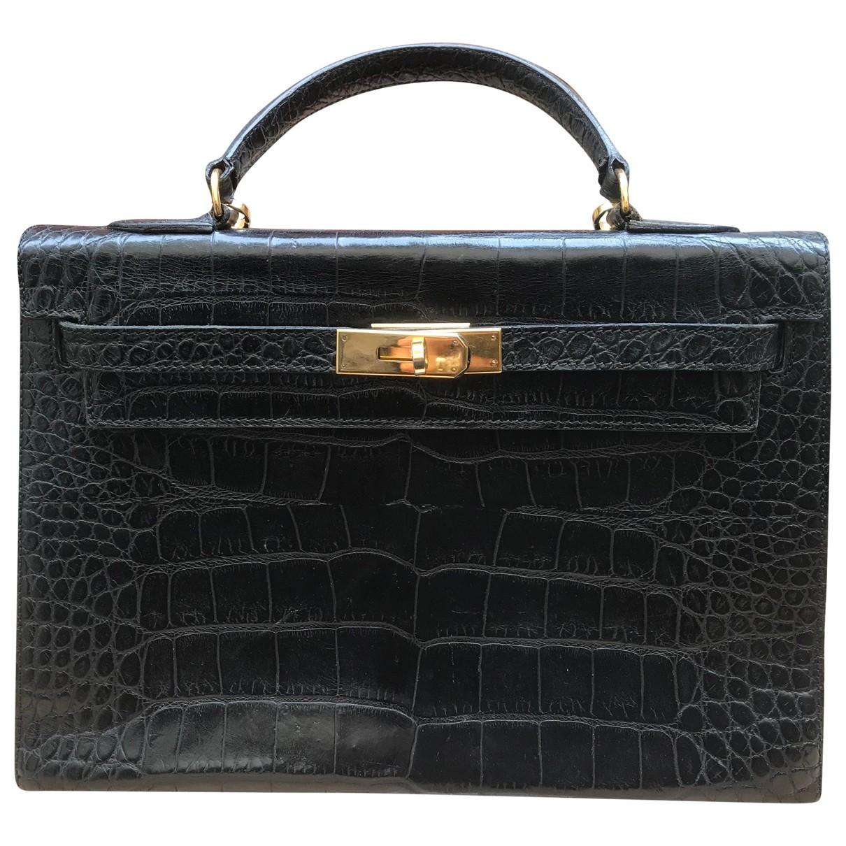 Hermes Kelly 32 Handtasche in  Schwarz Krokodil