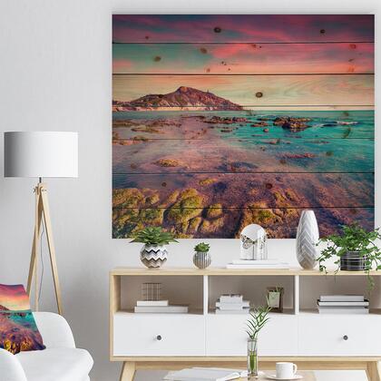 WD9091-46-36 Giallonardo Beach Colorful Sunset - Seashore Photo Print On Natural Pine Wood -