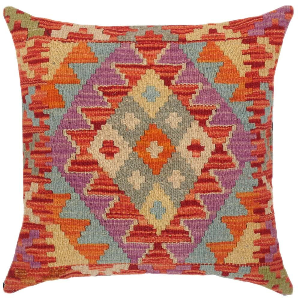 Tribal Jacqulin Hand-Woven Turkish Kilim Throw Pillow 18 in. x 18 in. (Accent - 18 in. x 18 in. - Polyester - Rust - Single)
