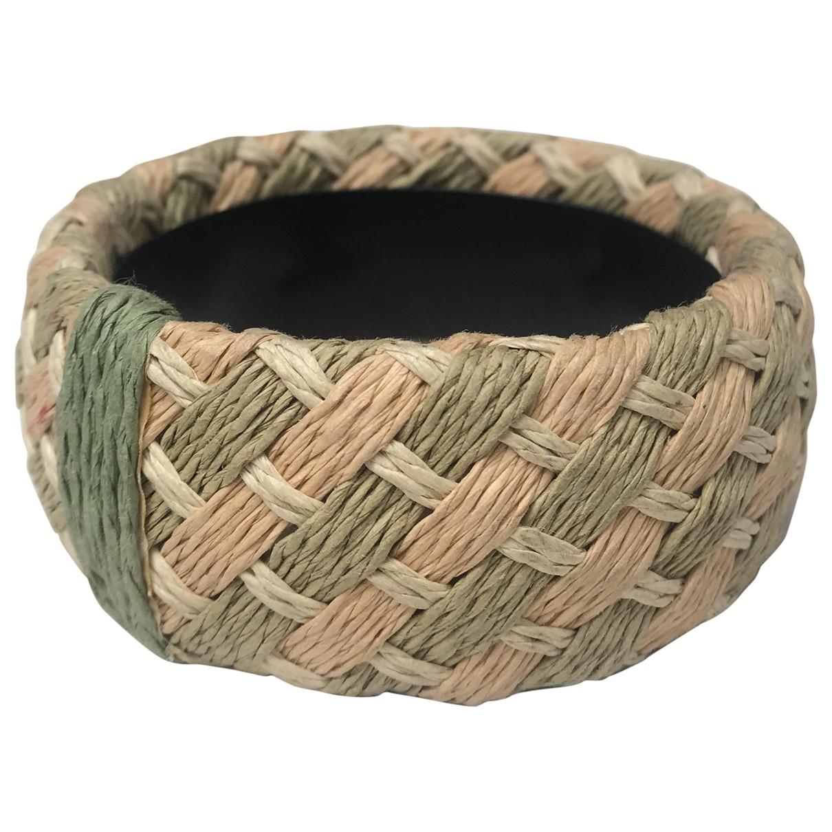Non Signé / Unsigned Manchette Beige Cloth bracelet for Women N