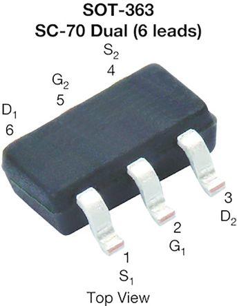 Vishay Dual N-Channel MOSFET, 850 mA, 20 V, 6-Pin SOT-363  SQ1922AEEH-T1_GE3 (3000)