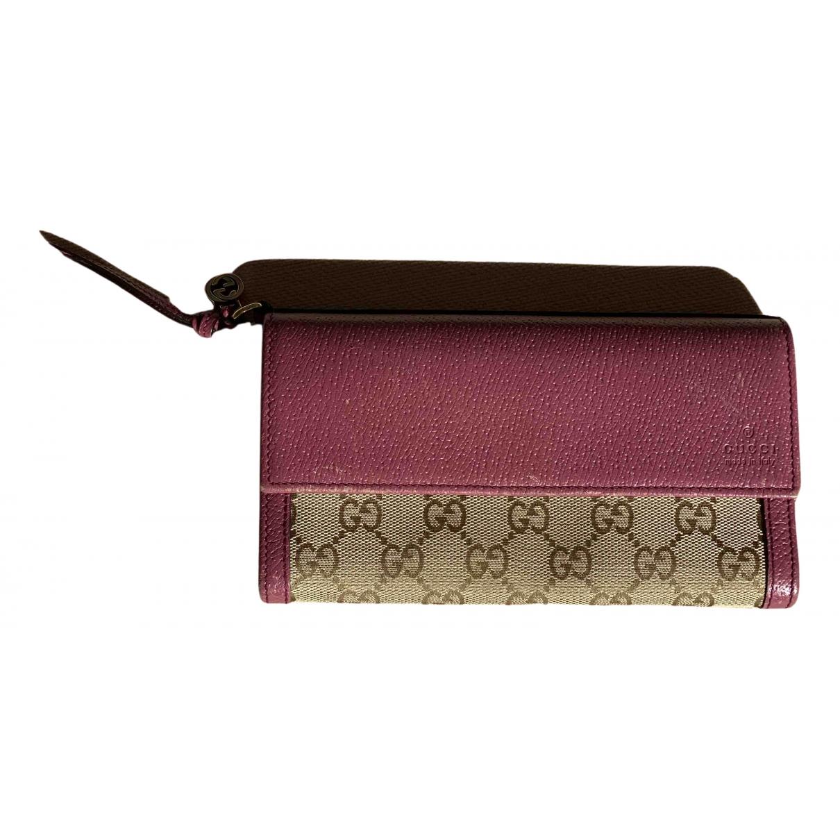 Gucci - Portefeuille   pour femme en coton - rose