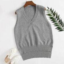 Plus Solid Split High Low Hem Sweater Vest