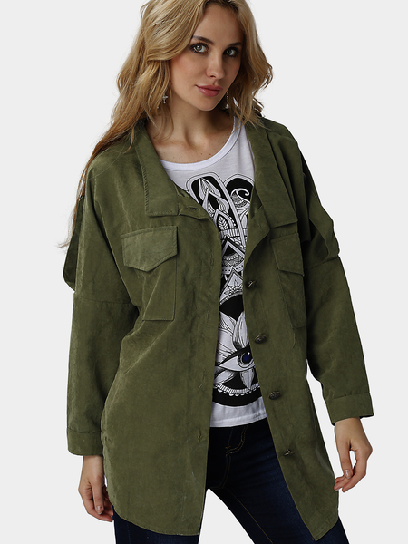 Yoins Army Green Loose Fit Trench Outerwear