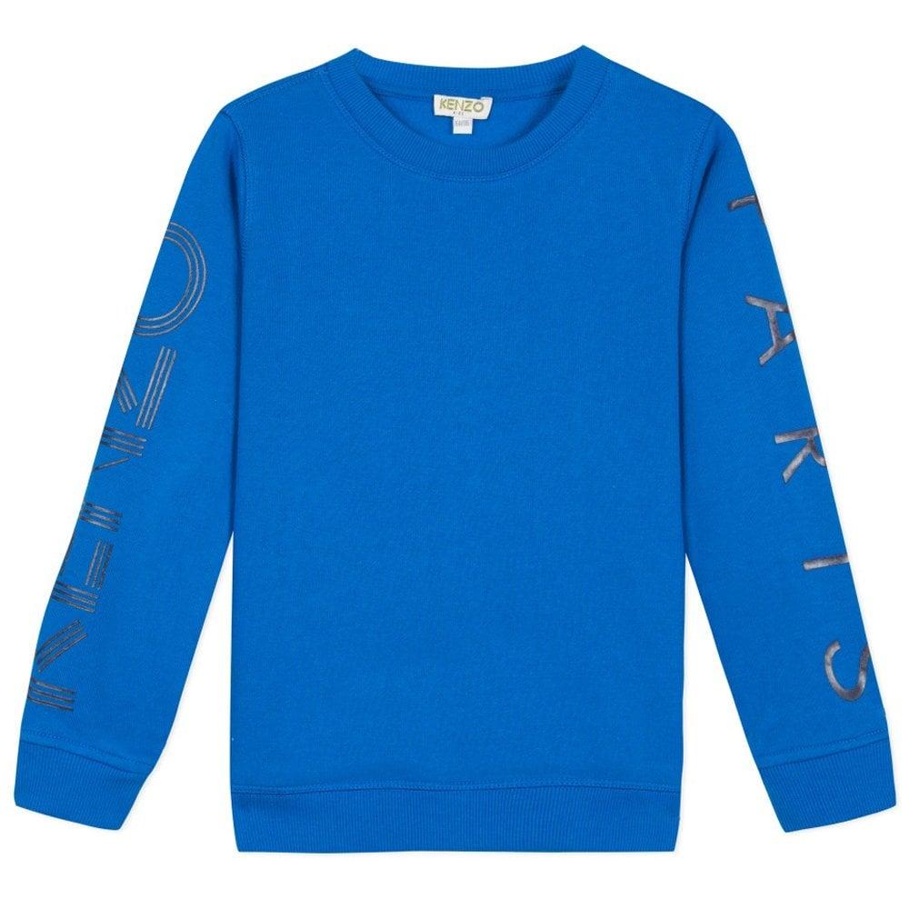 Kenzo Kids Paris Arm Logo Sweatshirt Blue Colour: BLUE, Size: 8 YEARS