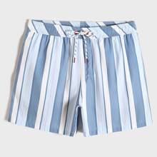 Men Stripe Swim Trunks