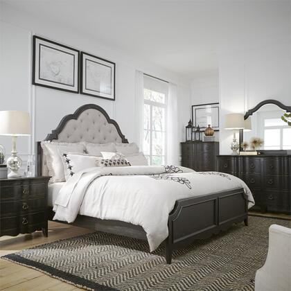 Liberty Furniture 493-BR-QUBDMCN 5 Piece Bedroom Set with Queen Size Upholstered Bed  Dresser and Mirror  Chest  Nightstand in Wire Brushed Antique