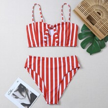 Striped Tie Front High Waisted Bikini Swimsuit