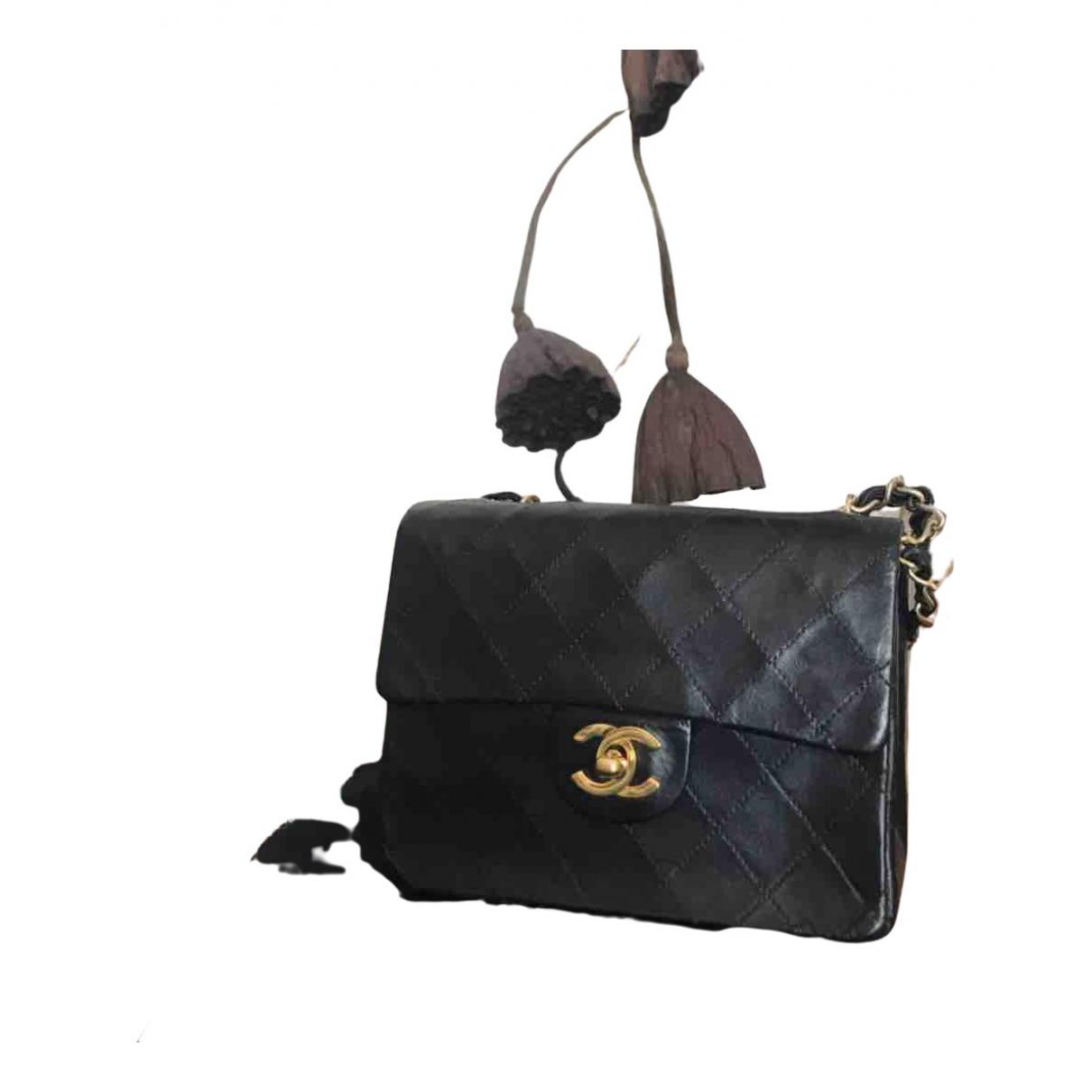 Chanel Timeless/Classique Clutch in  Schwarz Leinen