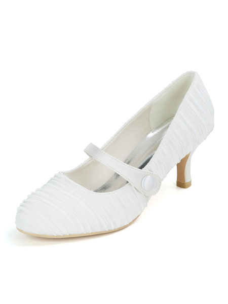 Milanoo Zapatos de boda Zapatos de novia de tacon de aguja de punta redonda de saten blanco