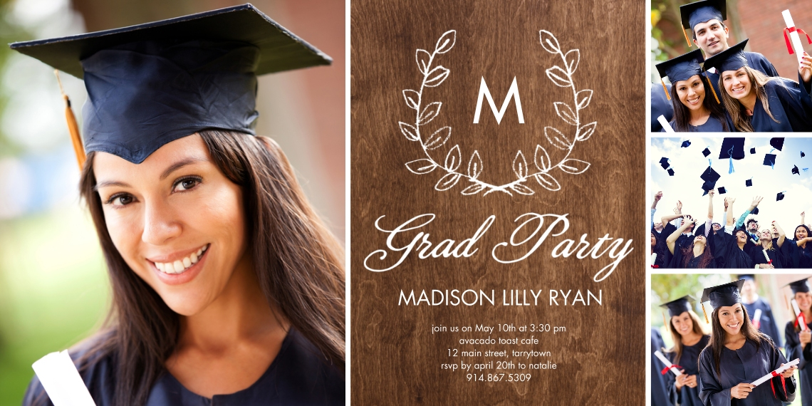 2020 Graduation Announcements Flat Matte Photo Paper Cards with Envelopes, 4x8, Card & Stationery -Grad Party Initial Laurel Rustic by Tumbalina