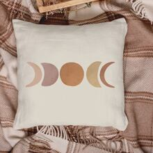 1pc Moon Print Cushion Cover Without Filler
