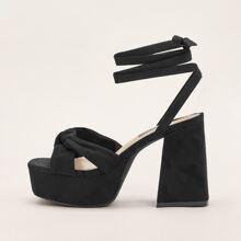 Open Toe Tie Leg Platform Chunky Heeled Sandals
