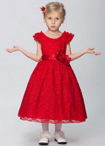 Milanoo Off-the-Shoulder Lace Flower Girl Dress