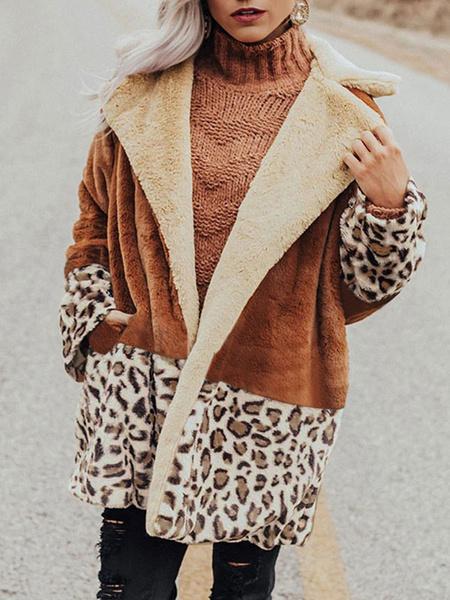Milanoo Abrigos de piel sintetica Abrigo de invierno extragrande de manga larga con cuello vuelto blanco