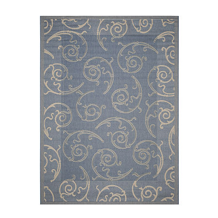 Safavieh Courtyard Collection Torvald Oriental Indoor/Outdoor Area Rug, One Size , Blue