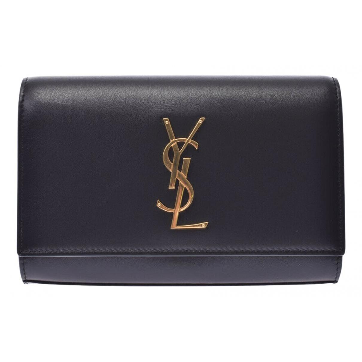 Saint Laurent - Pochette Kate monogramme pour femme en cuir - noir