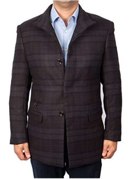Men's Patterned Button Closure Charcoal/Black Overcoat