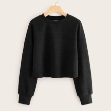 Ribbed Semi-Cropped Long Sleeve Top