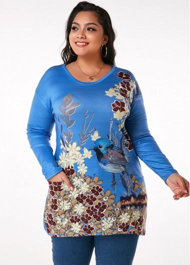 Plus Size Printed Pocket Long Sleeve T Shirt - XXL