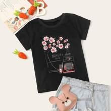 Toddler Girls Floral & Letter Print Tee