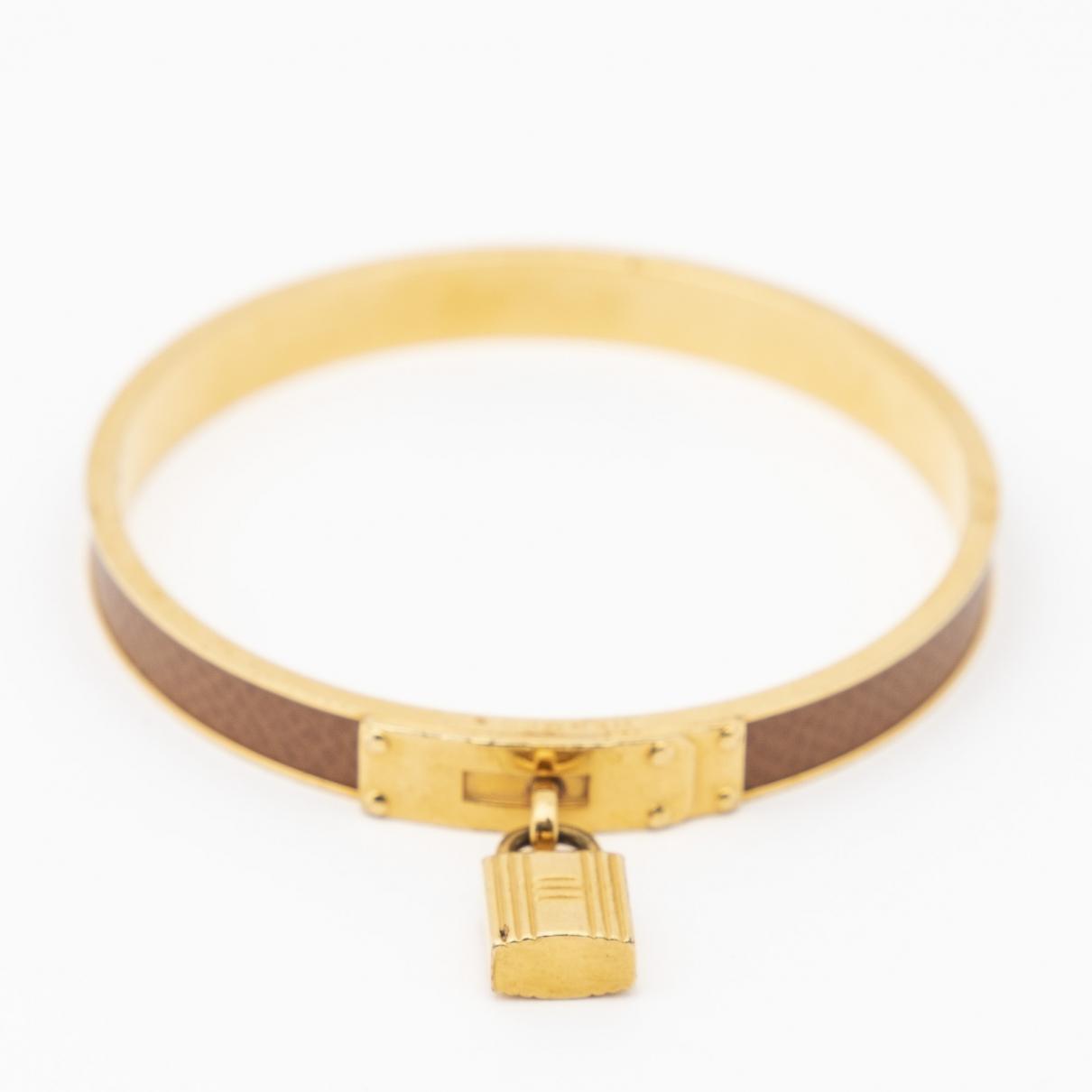 Hermes - Bracelet Kelly pour femme en cuir - dore