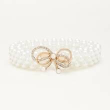 Cinturon con perla artificial y diamante de imitacion
