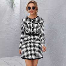 Button Front Houndstooth Tweed Dress