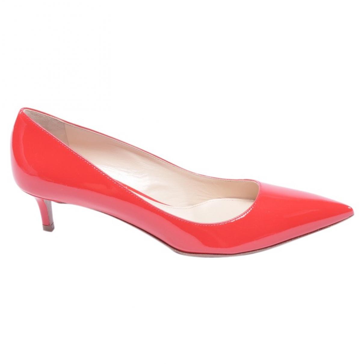 Prada \N Red Leather Heels for Women 36.5 EU