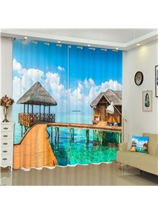 Wooden Bridge and Blue Sea Thick Polyester 3D Blackout and Water-Proof Room Curtain