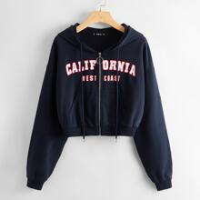 Letter Graphic Pocket Front O-ring Zip Up Hoodie